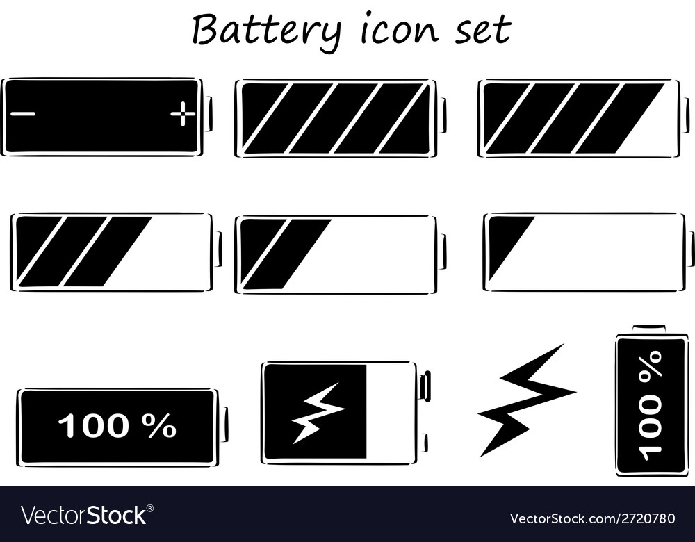 Black and white battery icons vector | Price: 1 Credit (USD $1)