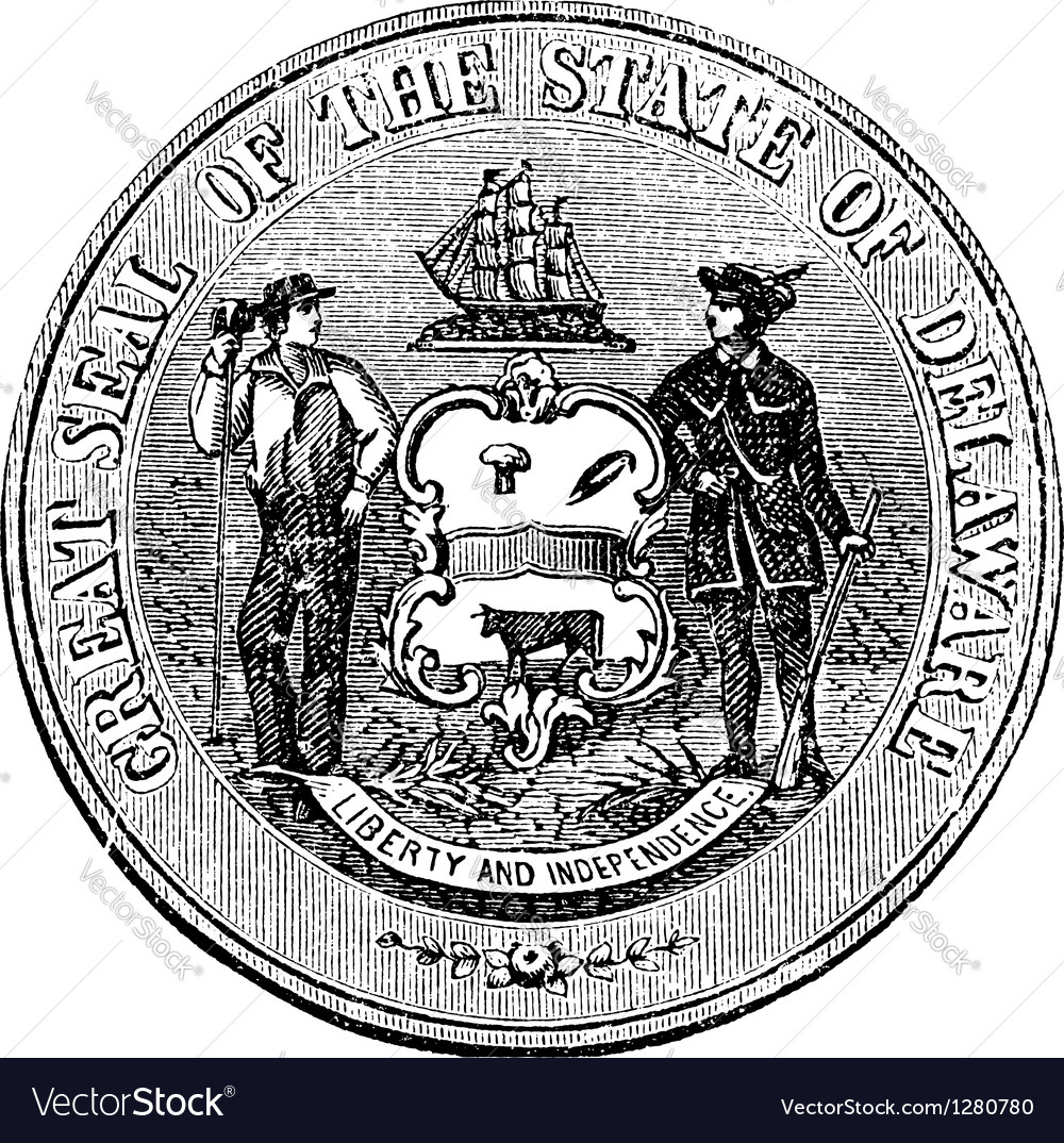 Delaware seal engraving vector | Price: 1 Credit (USD $1)