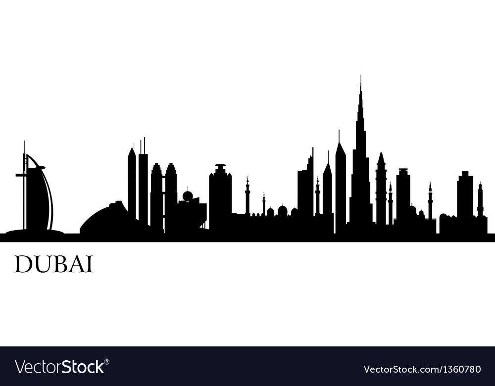Dubai city silhouette skyline vector | Price: 1 Credit (USD $1)