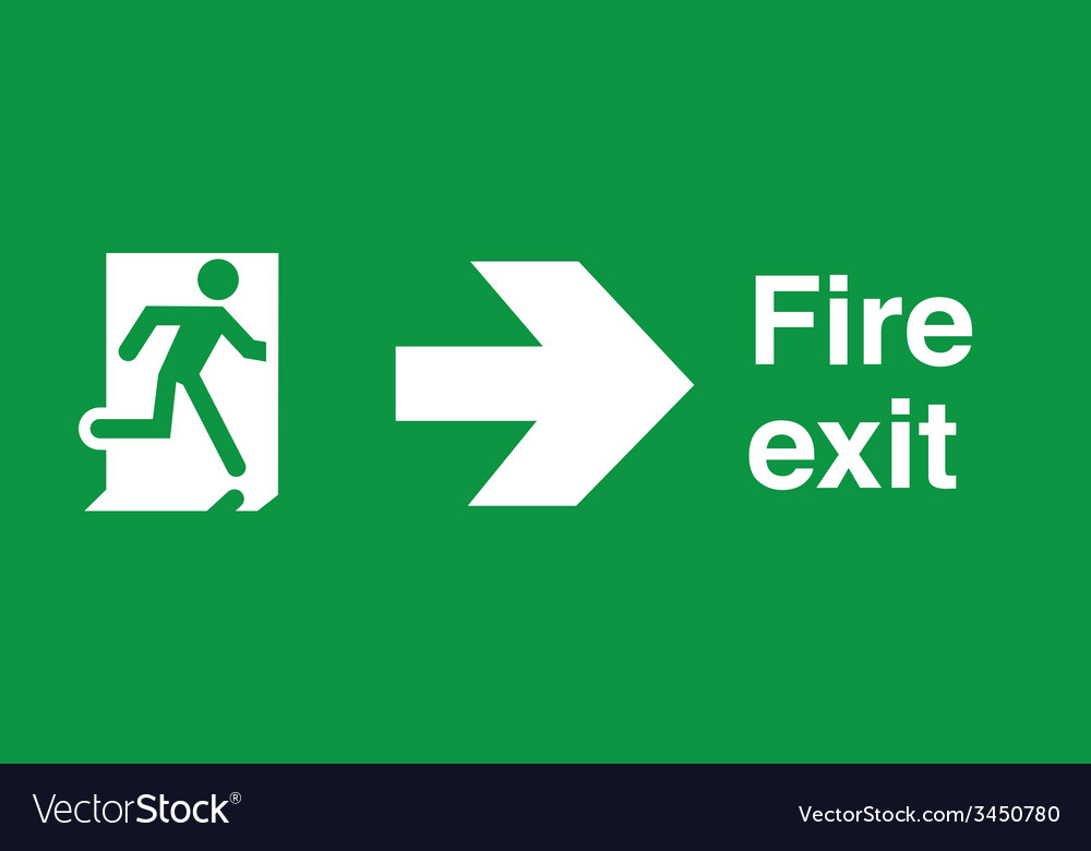 Fire exit safety sign vector