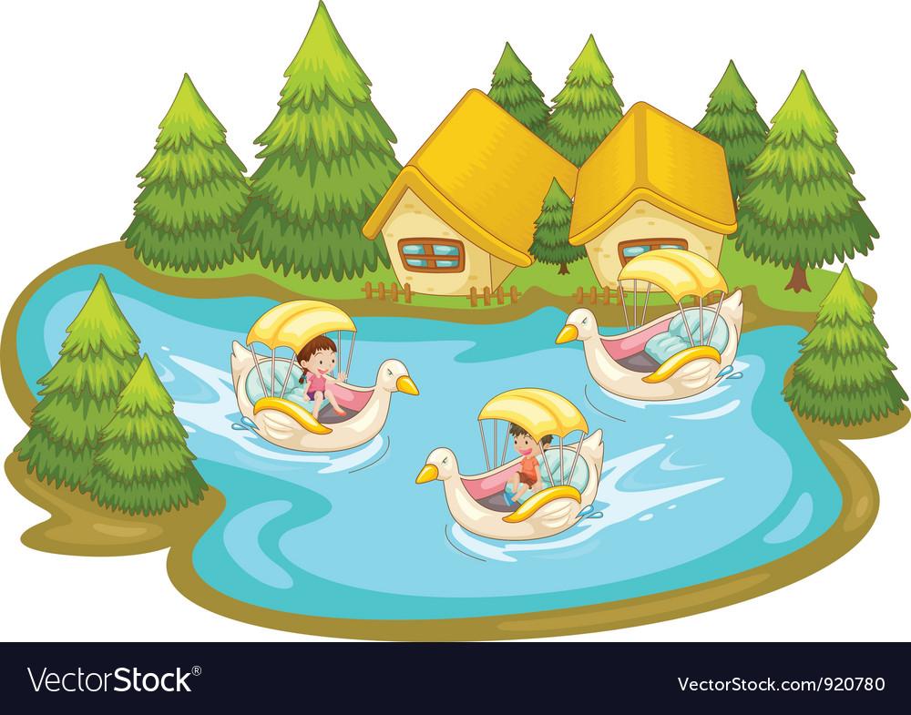 Fun in the lake vector | Price: 1 Credit (USD $1)