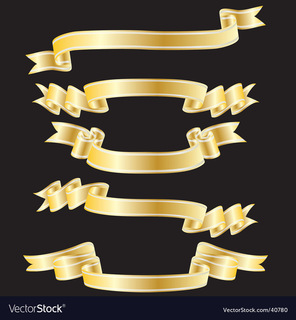 Golden ribbons vector | Price: 1 Credit (USD $1)