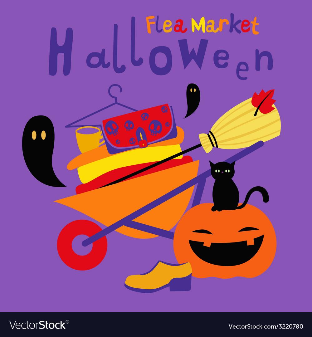 Halloween flea market print vector | Price: 1 Credit (USD $1)