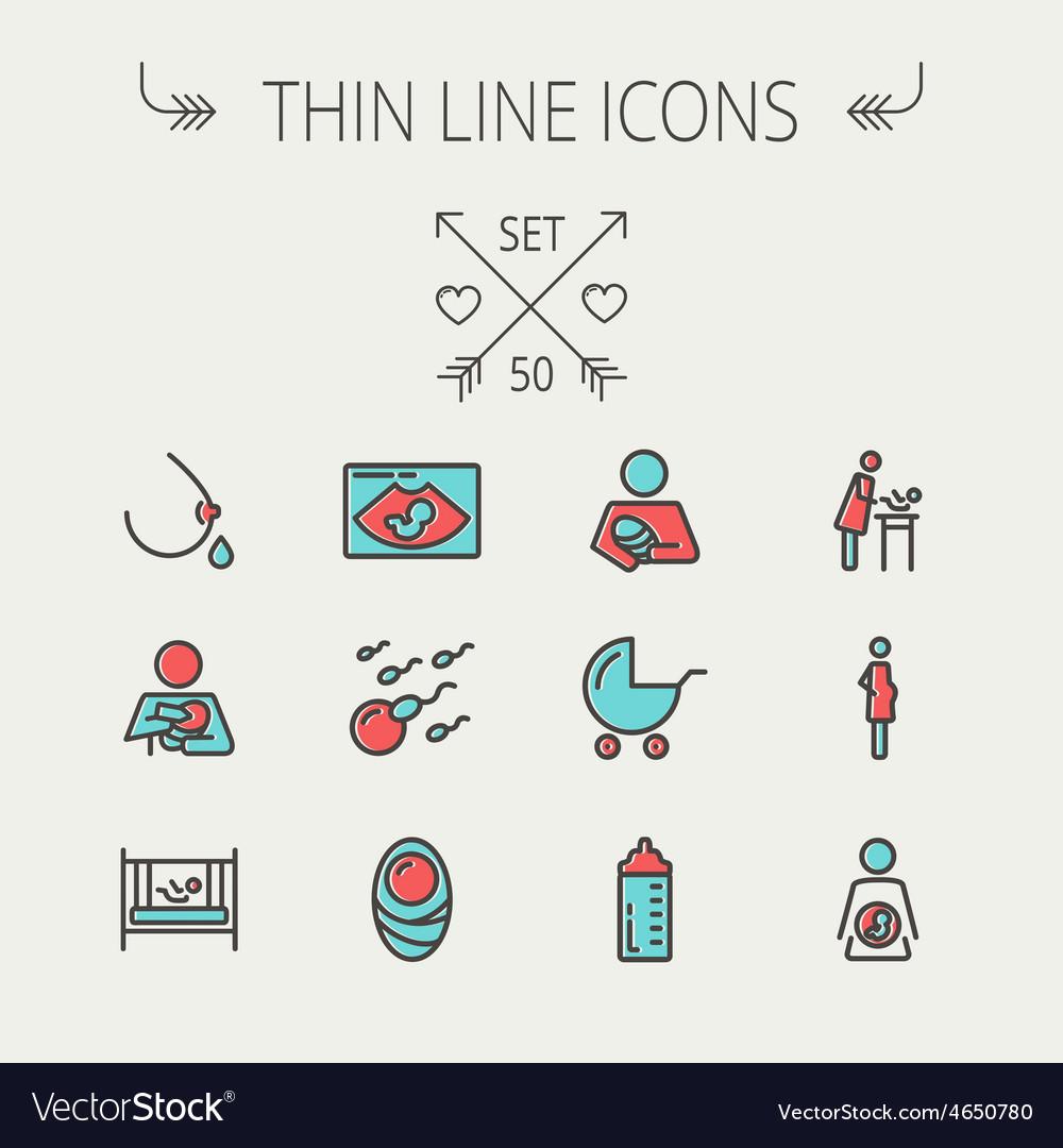 Medicine thin line icon set vector | Price: 1 Credit (USD $1)