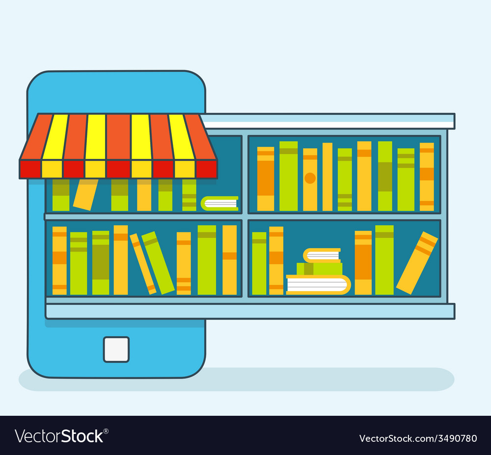 Mobile service - library of books for read online vector | Price: 1 Credit (USD $1)