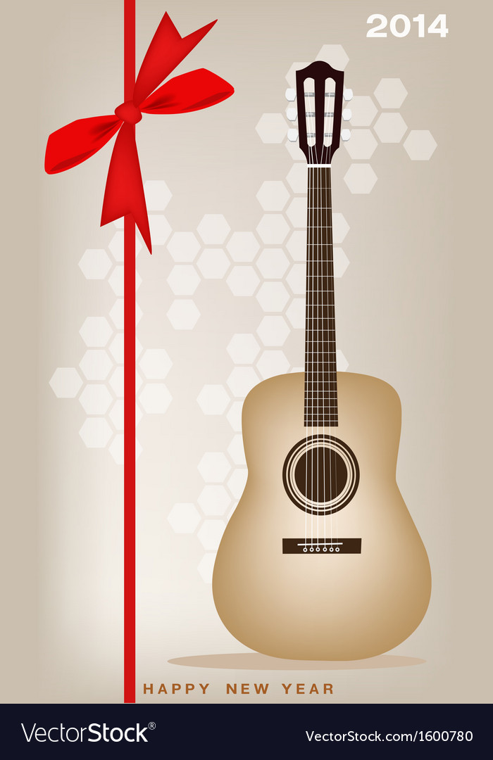New year gift card of a classical guitar vector   Price: 1 Credit (USD $1)