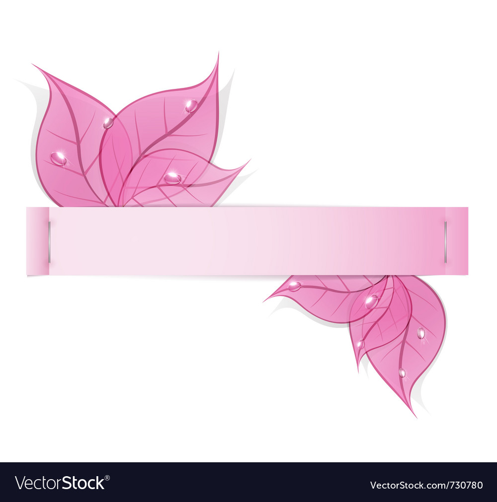 Paper strip with pink leaves and drops of dew on a vector | Price: 1 Credit (USD $1)