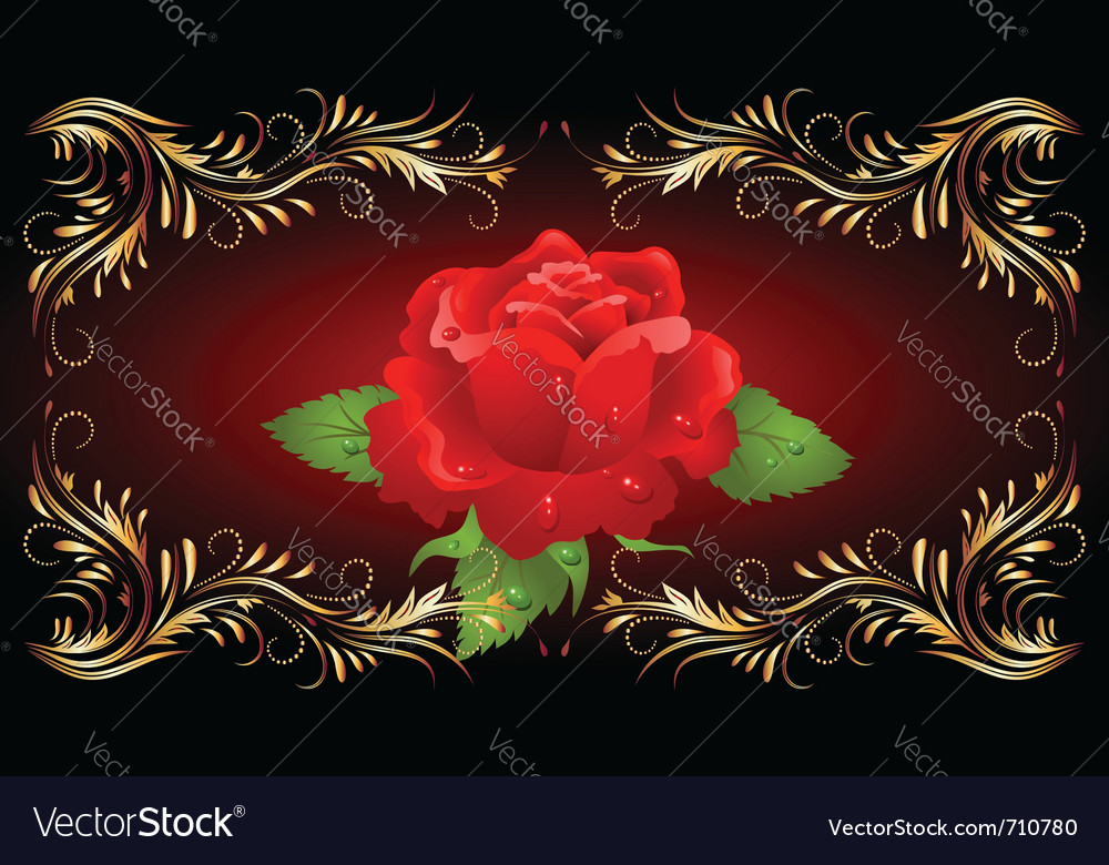 Red rose with golden ornament vector | Price: 1 Credit (USD $1)