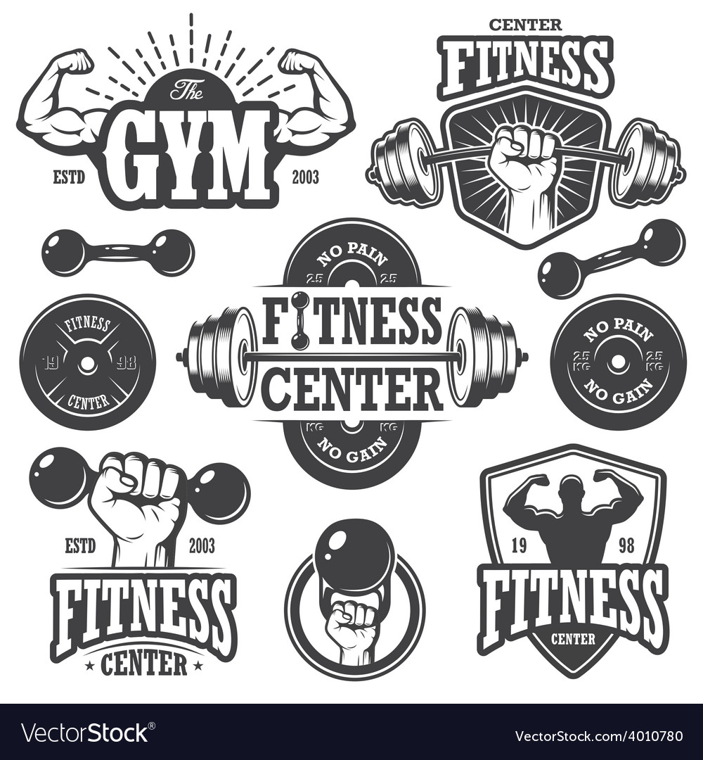 Second set of monochrome fitnes emblems vector | Price: 1 Credit (USD $1)