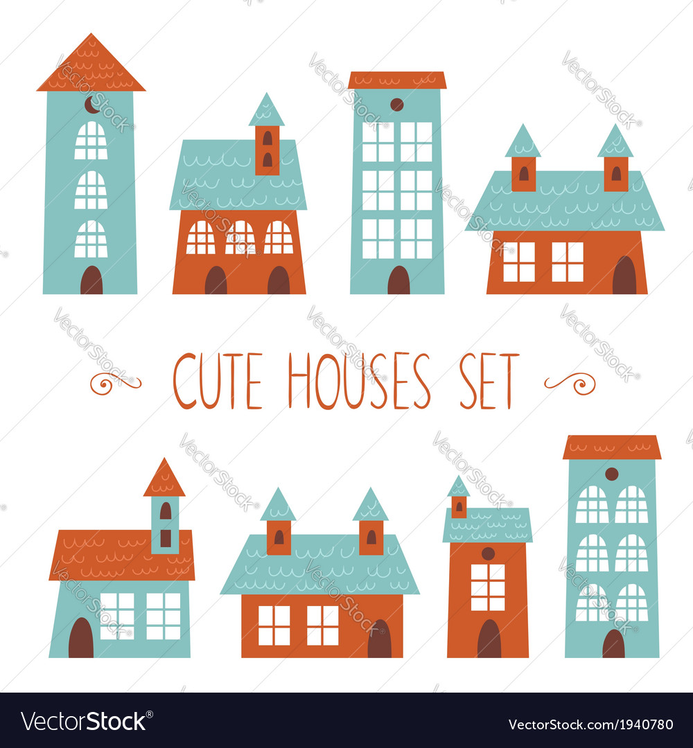 Set of cute houses hand drawn cartoon kids style vector | Price: 1 Credit (USD $1)