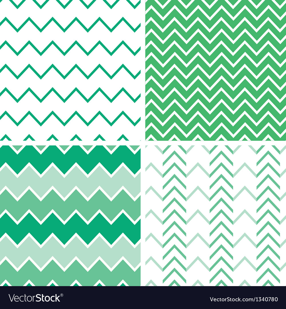Set of four emerald green chevron patterns and vector | Price: 1 Credit (USD $1)