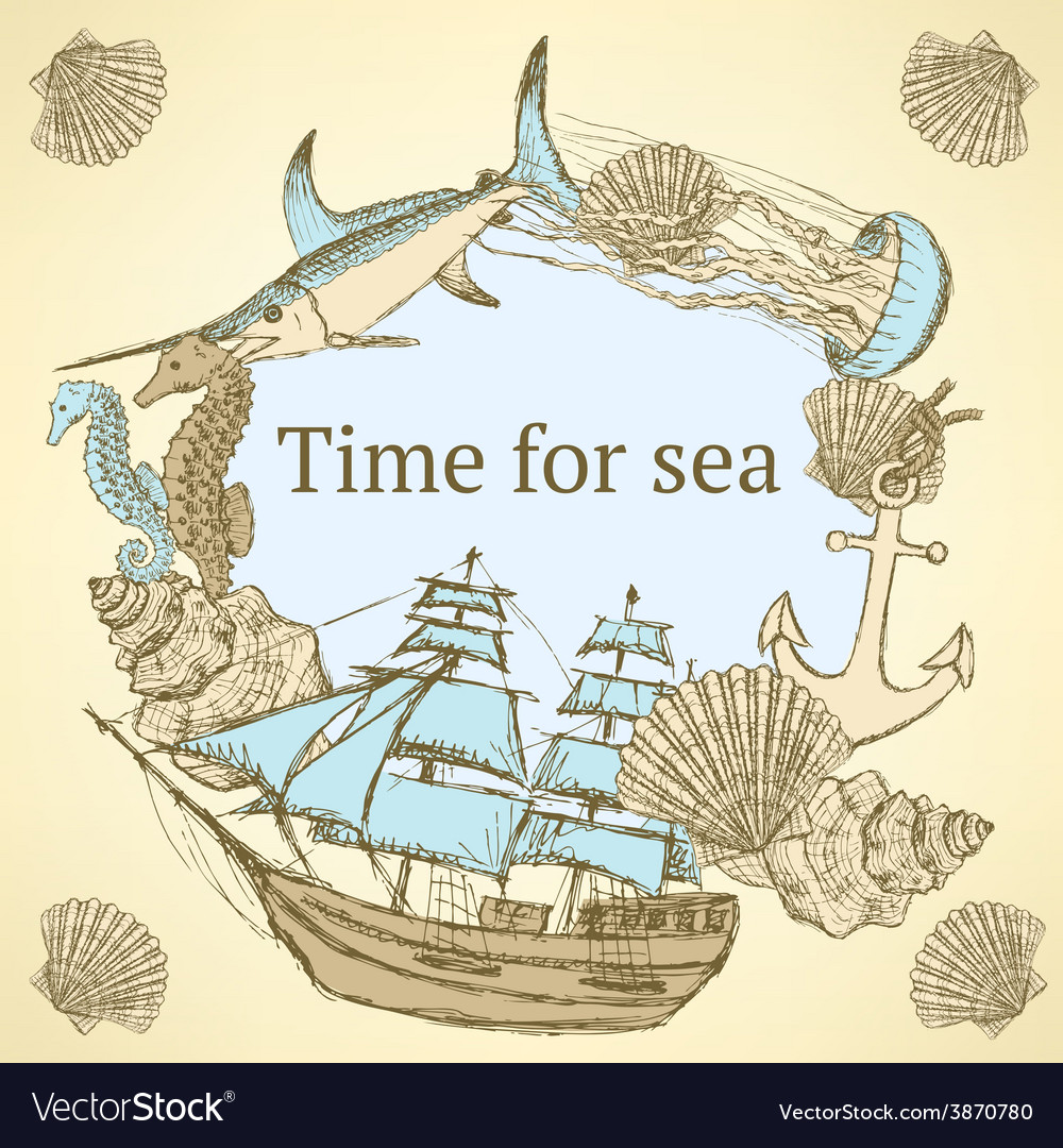 Sketch sea life in vintage style vector | Price: 1 Credit (USD $1)