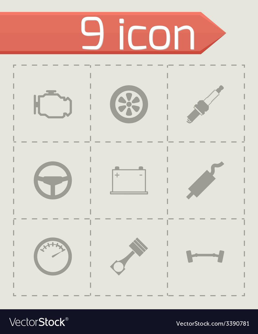 Black car parts icon set vector | Price: 1 Credit (USD $1)