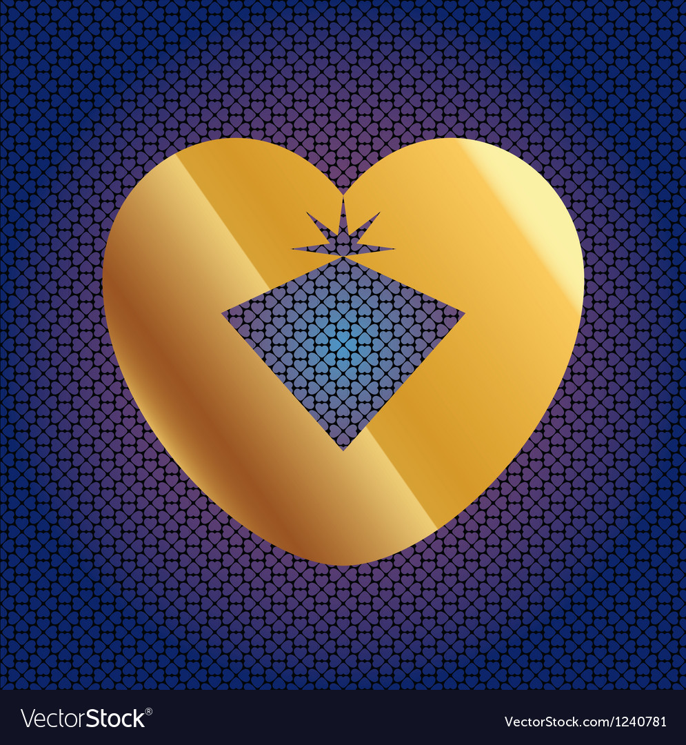 Brilliant in golden heart vector | Price: 1 Credit (USD $1)