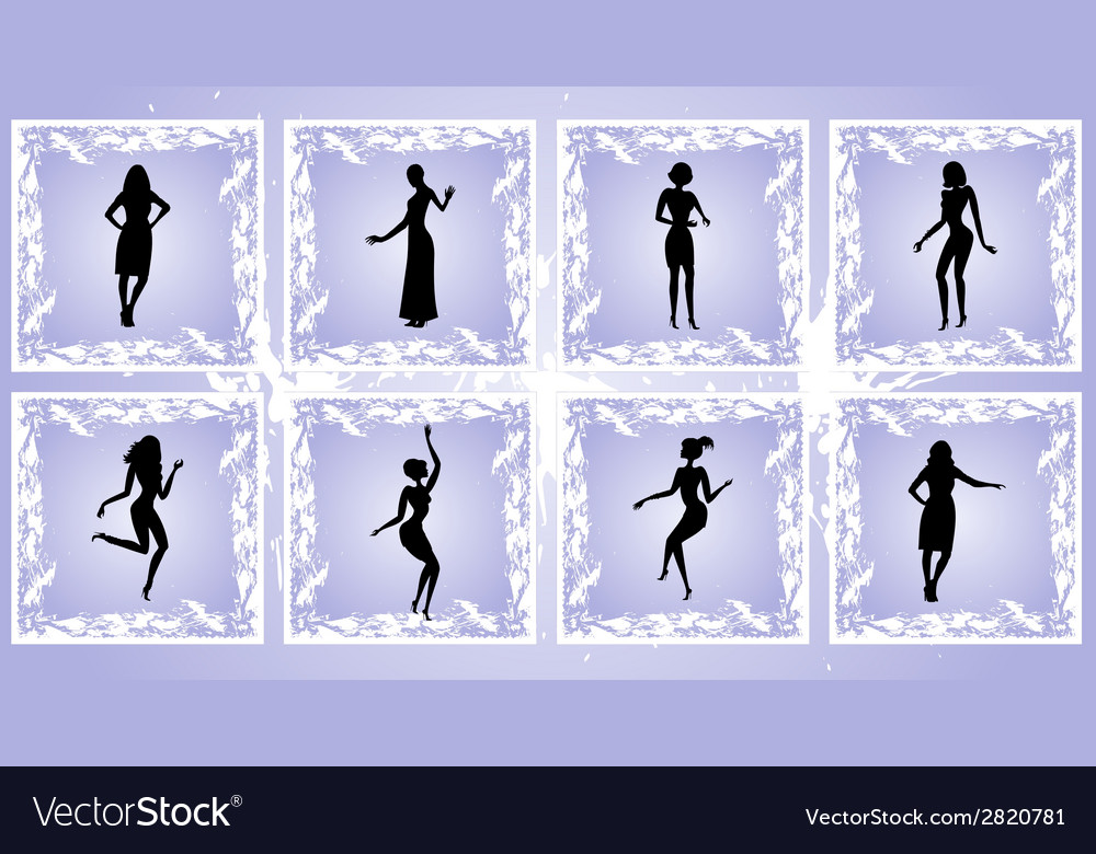 Female silhouettes on grunge background vector | Price: 1 Credit (USD $1)