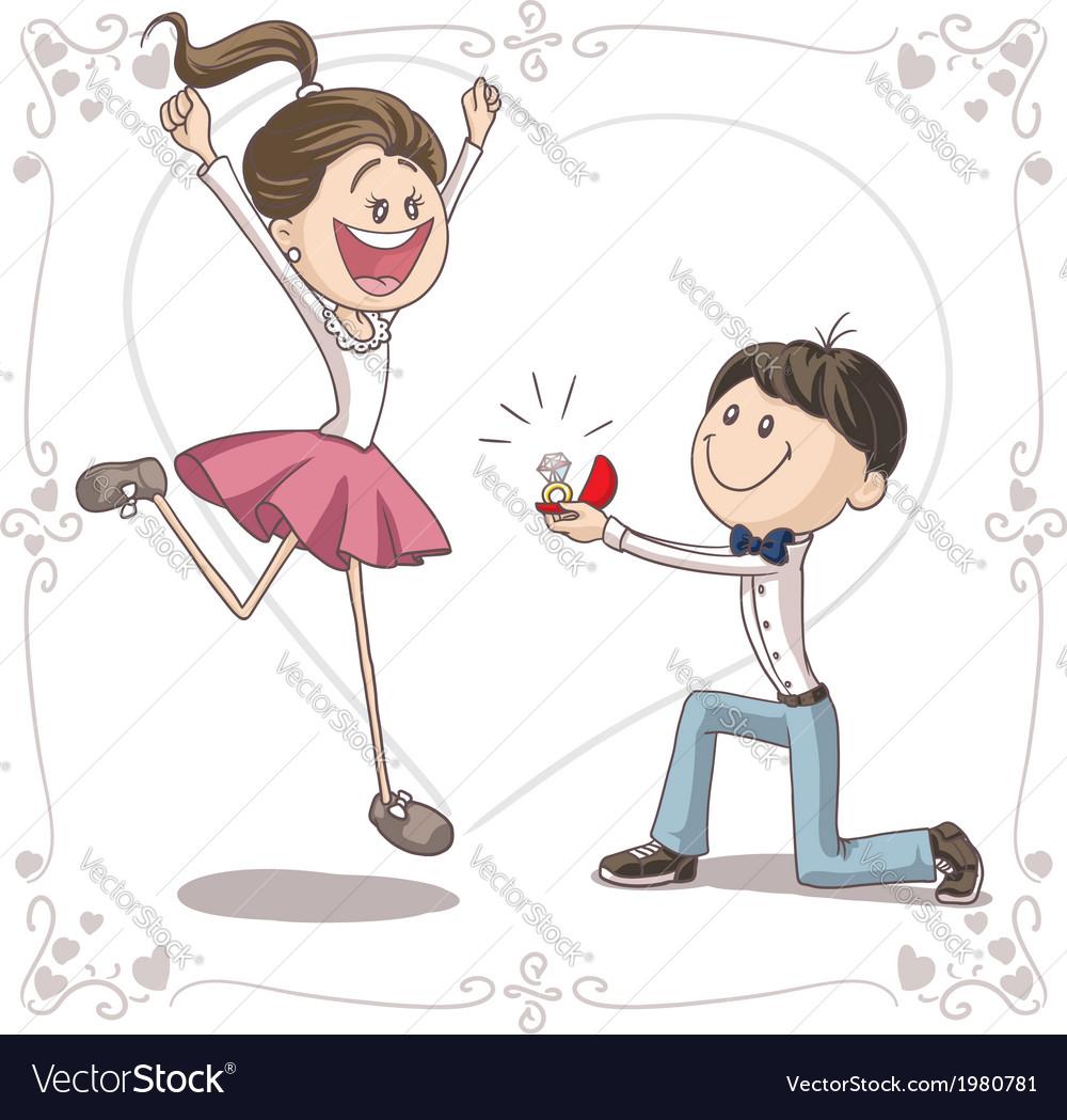 Marriage proposal cartoon vector   Price: 1 Credit (USD $1)