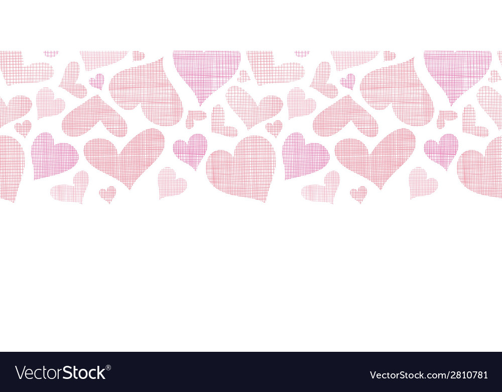 Pink textile hearts horizontal border seamless vector | Price: 1 Credit (USD $1)