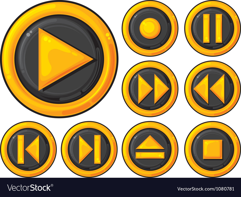 Player buttons set vector | Price: 1 Credit (USD $1)
