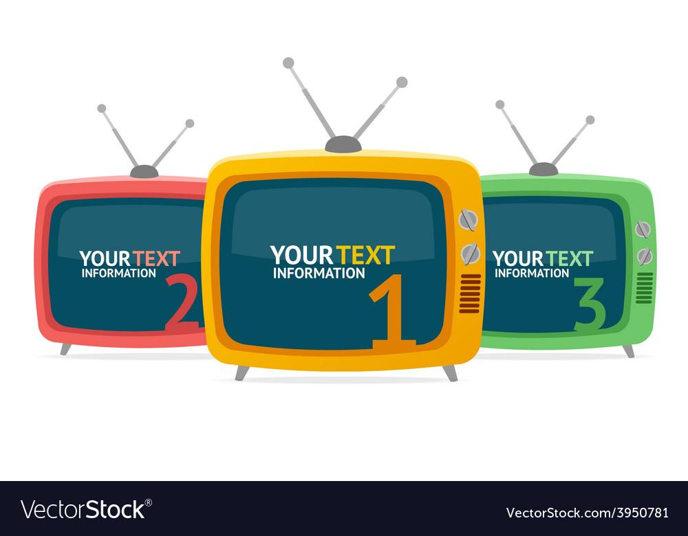 Retro tv option banner flat design vector | Price: 1 Credit (USD $1)