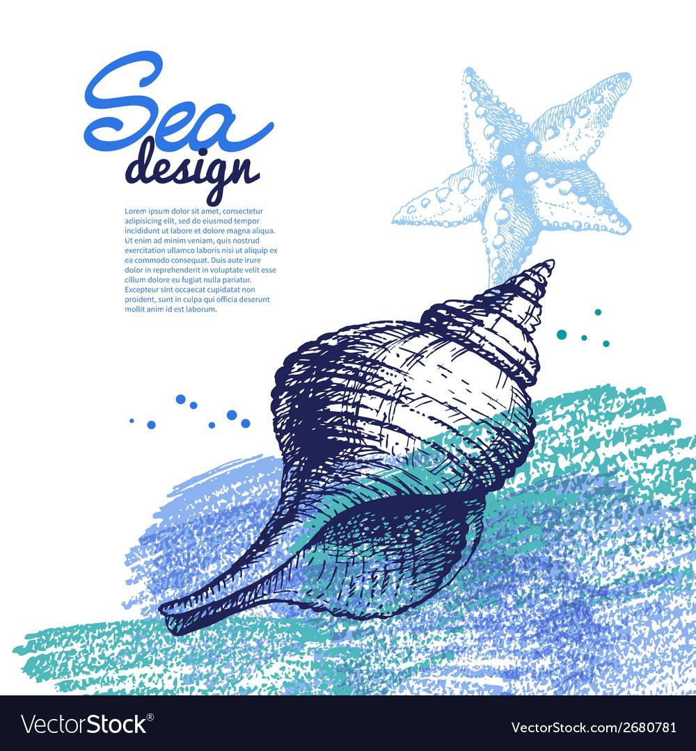 Seashell background sea nautical design vector | Price: 1 Credit (USD $1)