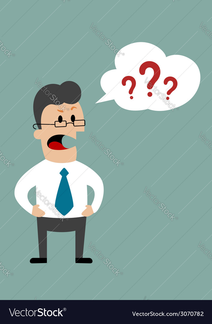 Angry businessman demanding answers vector | Price: 1 Credit (USD $1)