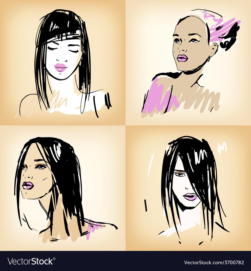 Beautiful girls set vector | Price: 1 Credit (USD $1)