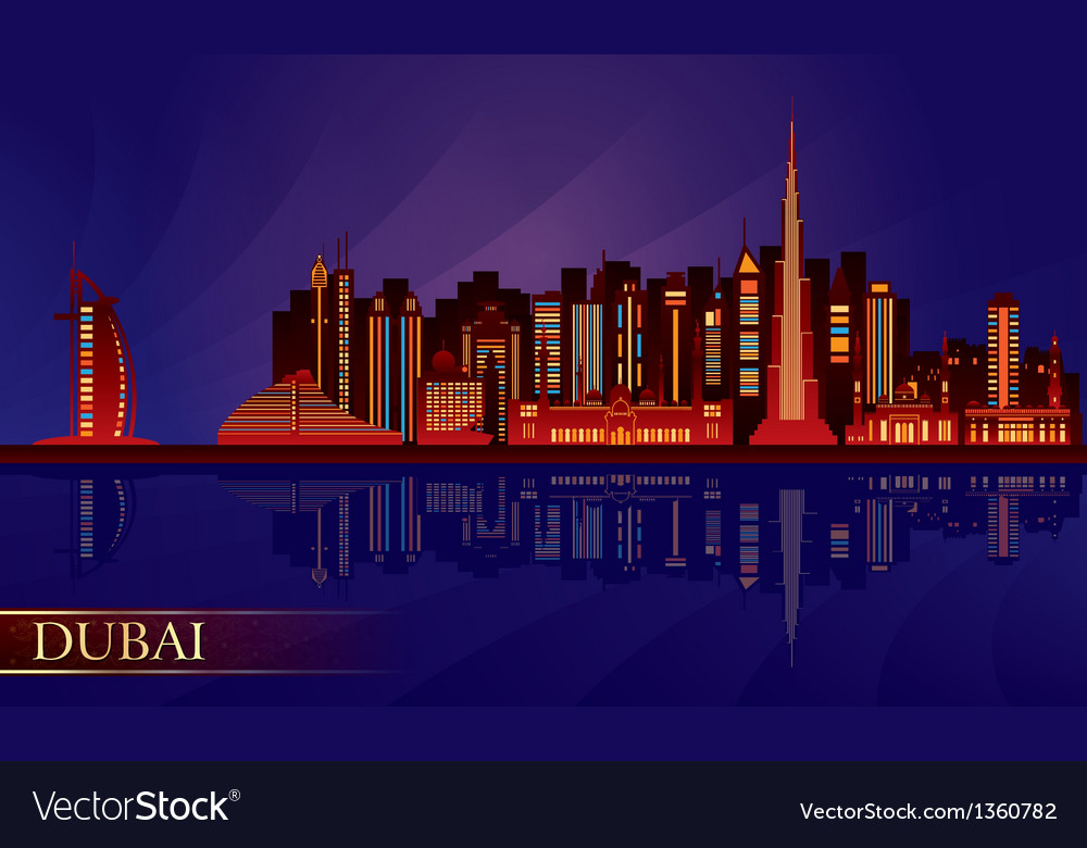Dubai night city skyline silhouette vector | Price: 1 Credit (USD $1)
