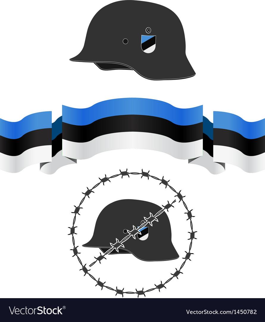 Estonian wsw helmet and flag vector | Price: 1 Credit (USD $1)