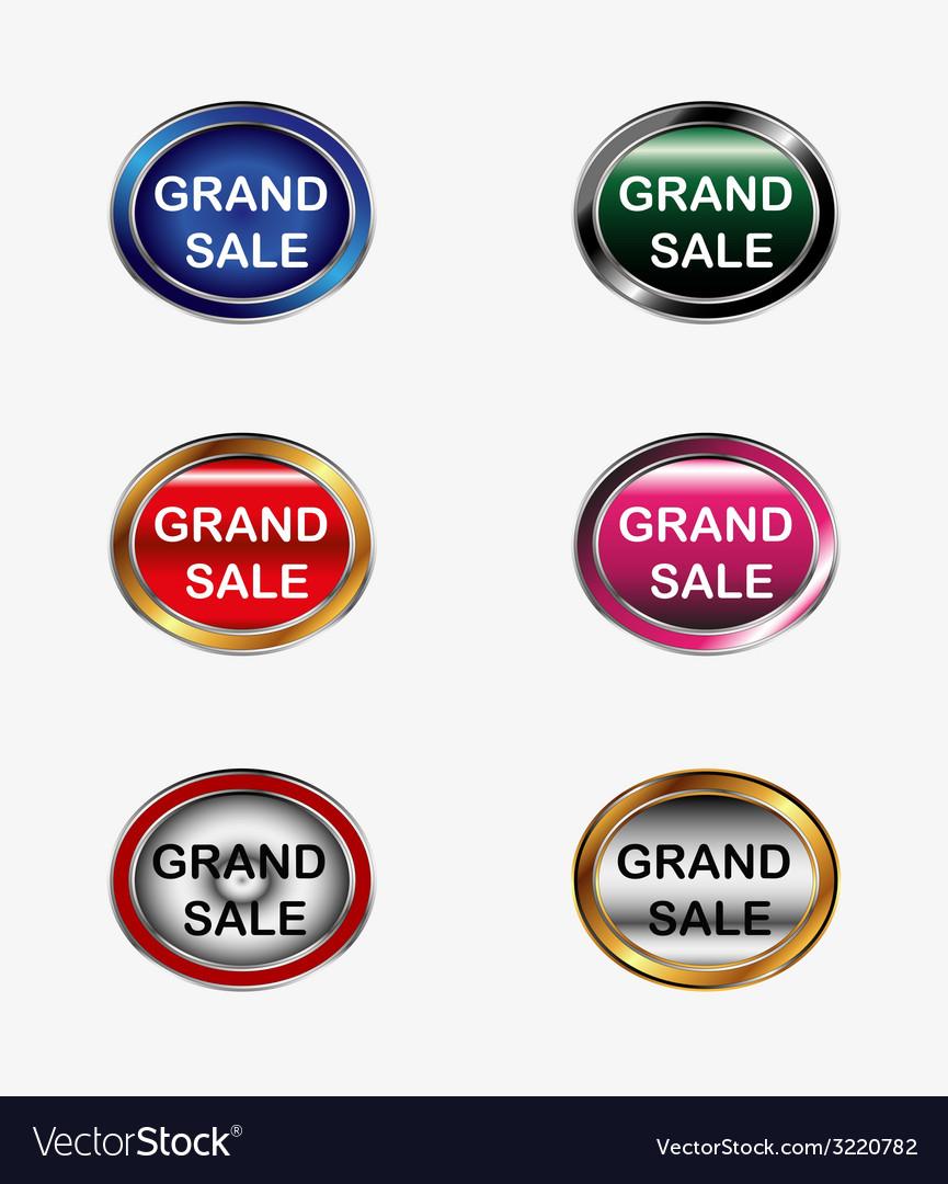 Grand sale button label vector | Price: 1 Credit (USD $1)
