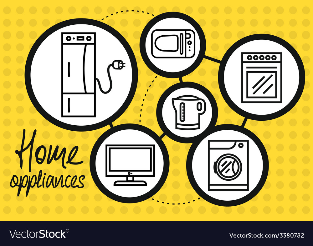 Household appliance for home and kitchen icon set vector | Price: 1 Credit (USD $1)