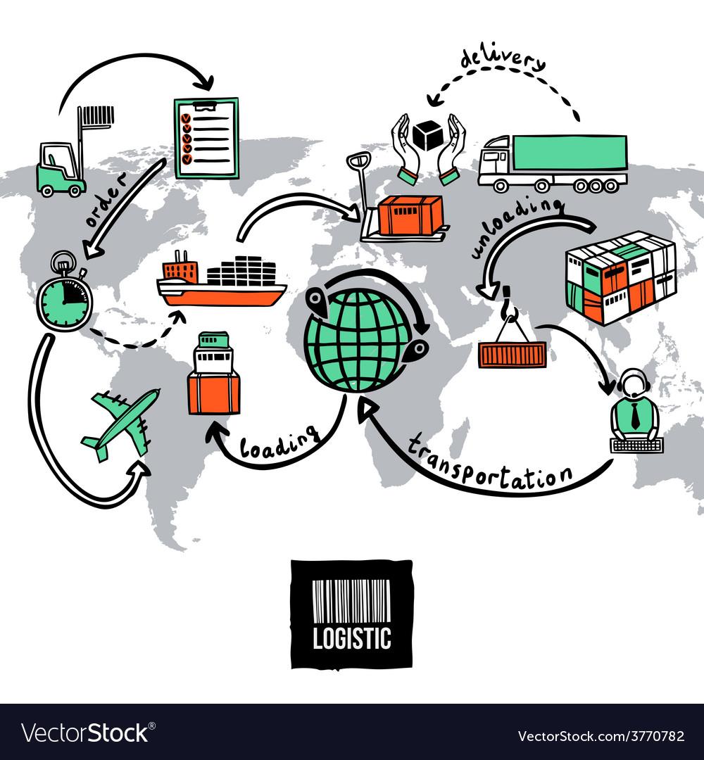 Logistic sketch concept vector | Price: 1 Credit (USD $1)