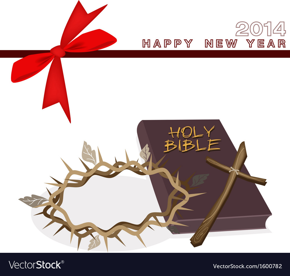 New year gift card with bible and crown of thorn vector | Price: 1 Credit (USD $1)