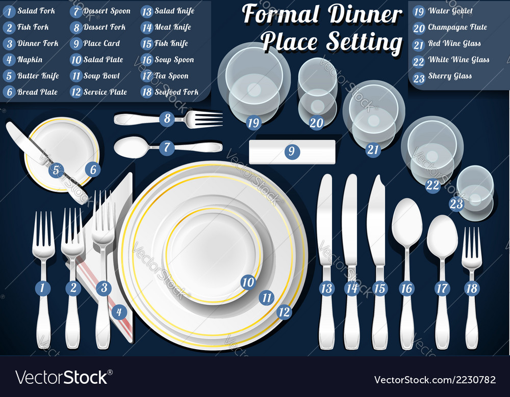 Set of place setting formal dinner vector | Price: 1 Credit (USD $1)