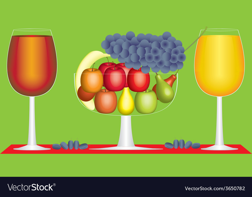 Still life of fruit and wine vector | Price: 1 Credit (USD $1)