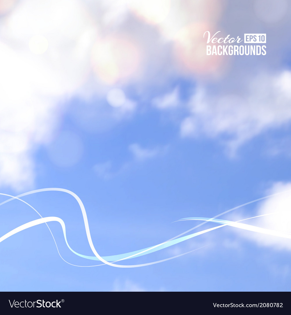 White line over cloud in blue sky vector | Price: 1 Credit (USD $1)