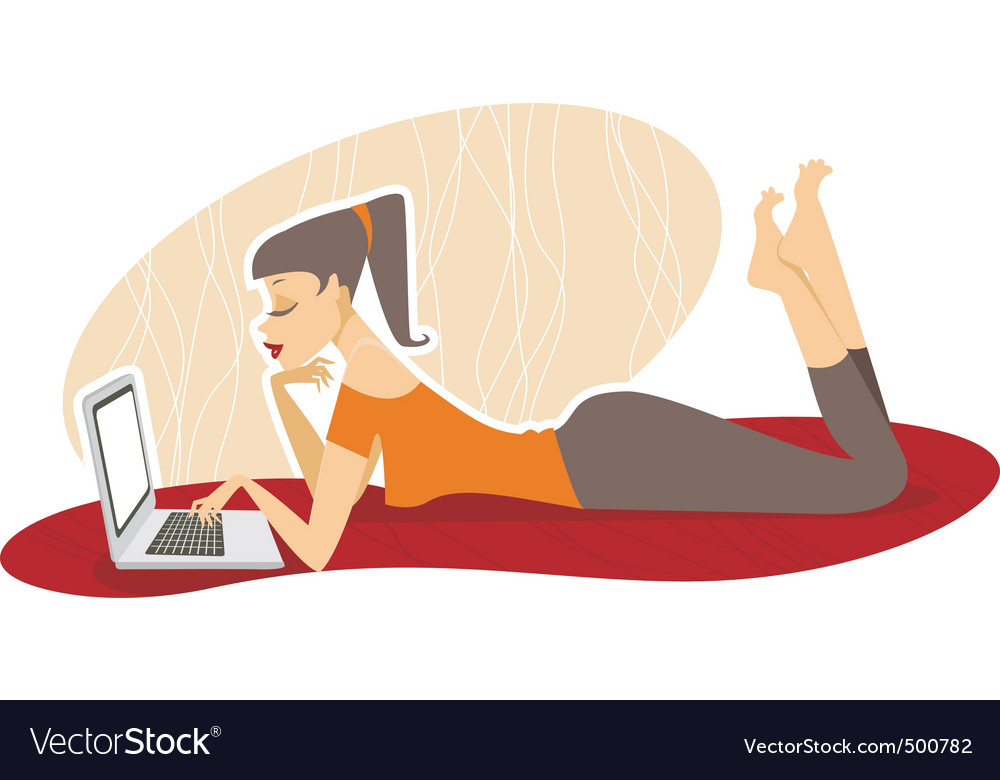 Woman with the laptop vector | Price: 3 Credit (USD $3)