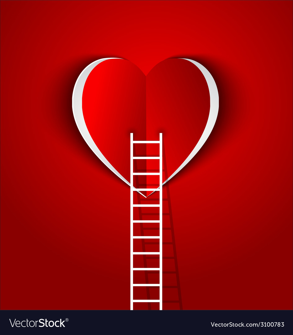 Ladder to your heart greeting card vector | Price: 1 Credit (USD $1)