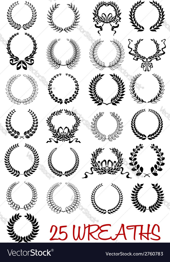 Laurel wreaths icons in retro style vector | Price: 1 Credit (USD $1)