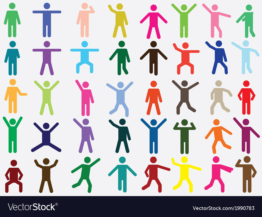 Pictogram people in different colors vector | Price: 1 Credit (USD $1)