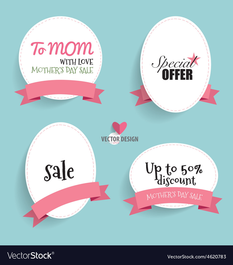 Sale coupon voucher tag happy mothers day vector | Price: 1 Credit (USD $1)