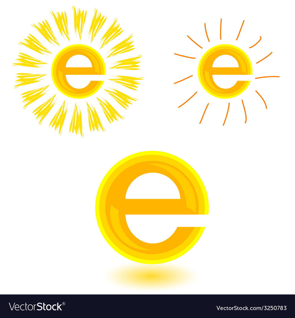 Sun in yellow with letter e vector | Price: 1 Credit (USD $1)