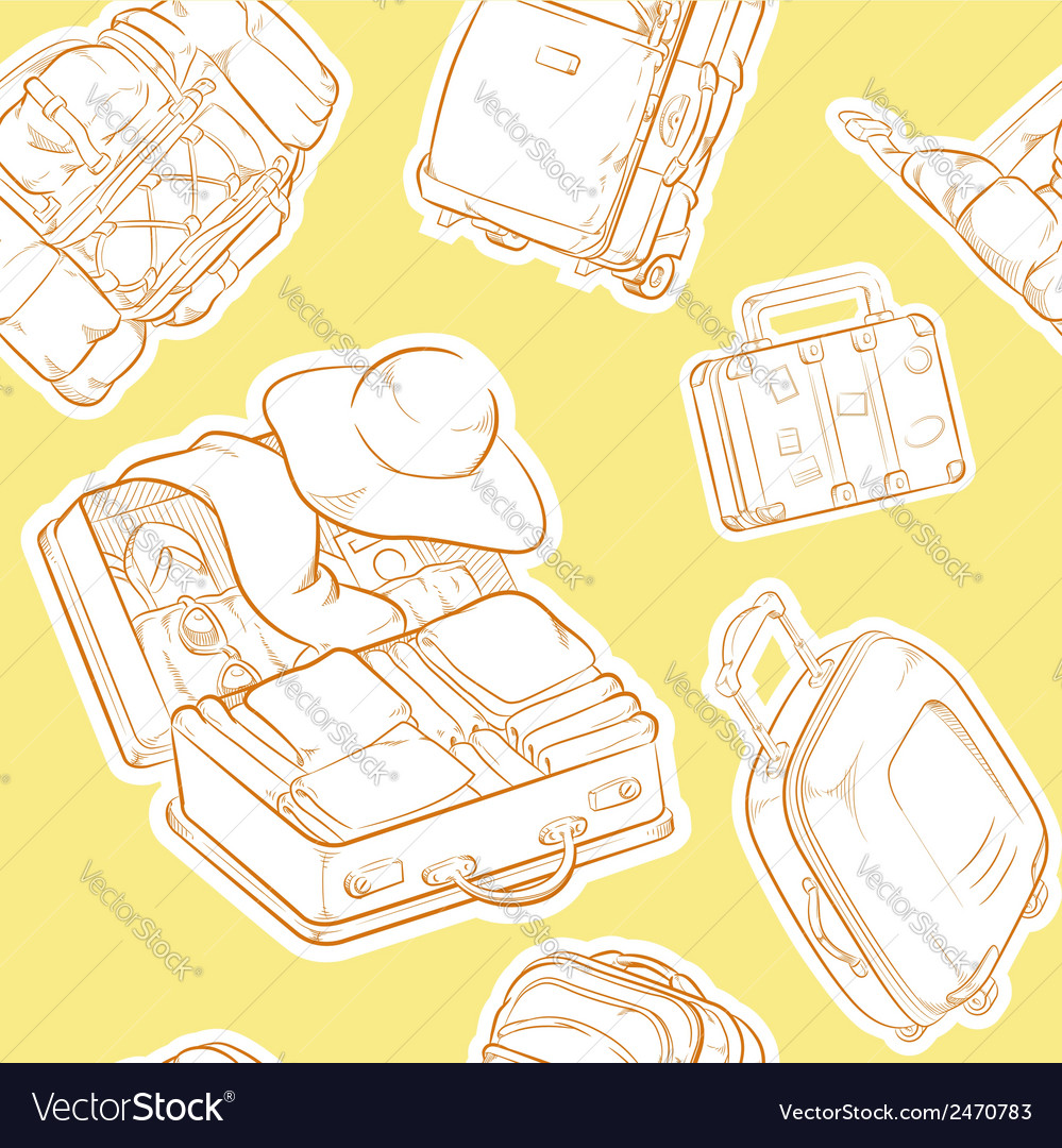 Travel suitcase bag sketch seamless pattern vector | Price: 1 Credit (USD $1)