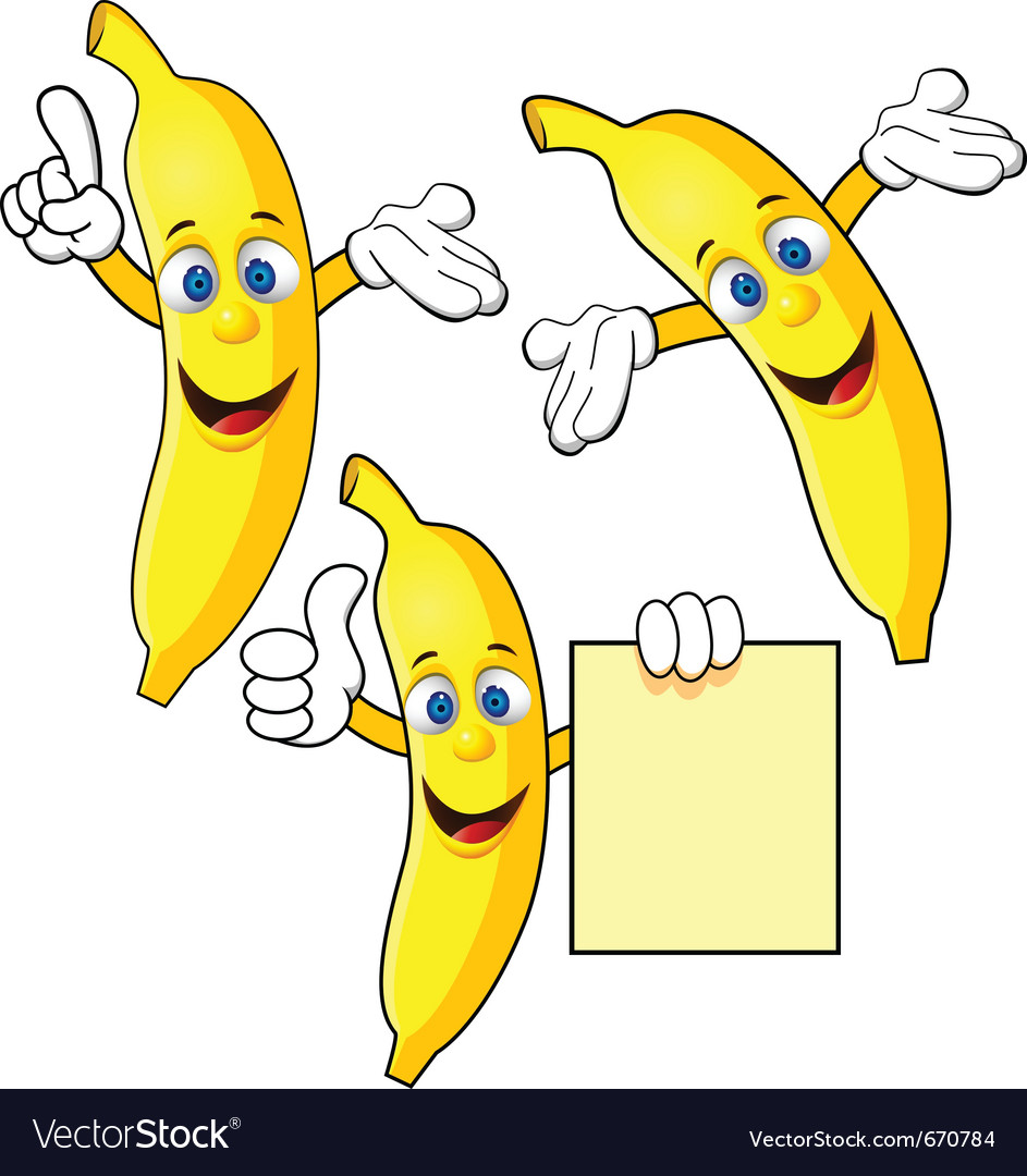 Banana cartoon character vector | Price: 1 Credit (USD $1)