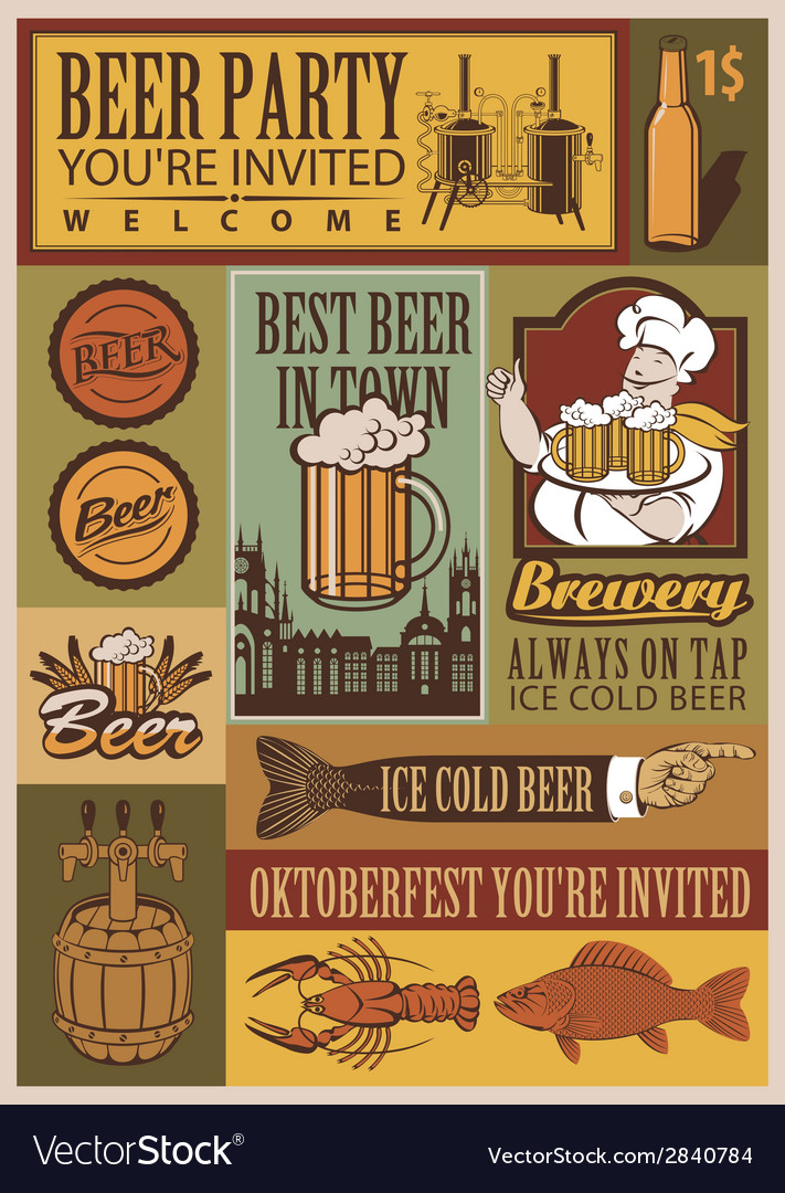 Beer retro set vector | Price: 1 Credit (USD $1)