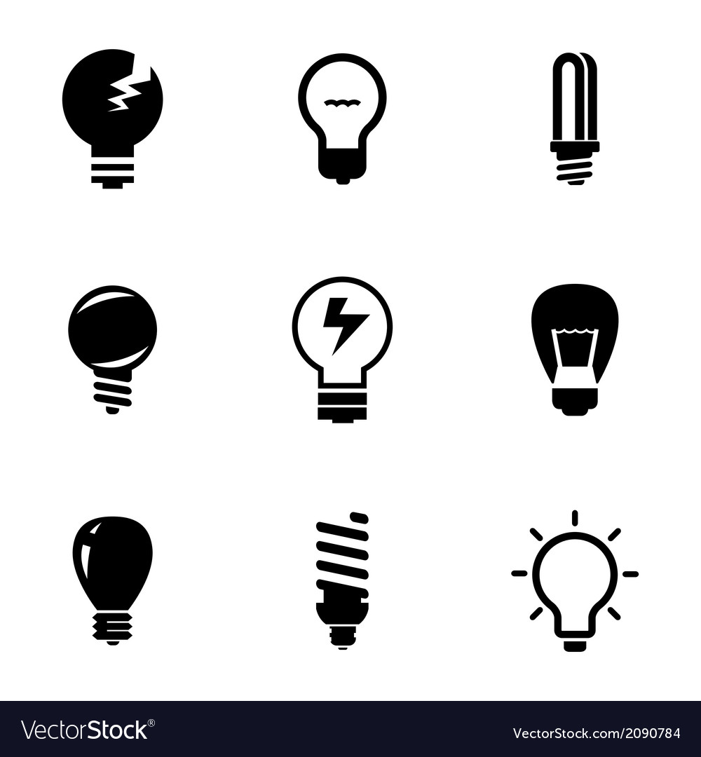 Black bulbs icons set vector | Price: 1 Credit (USD $1)