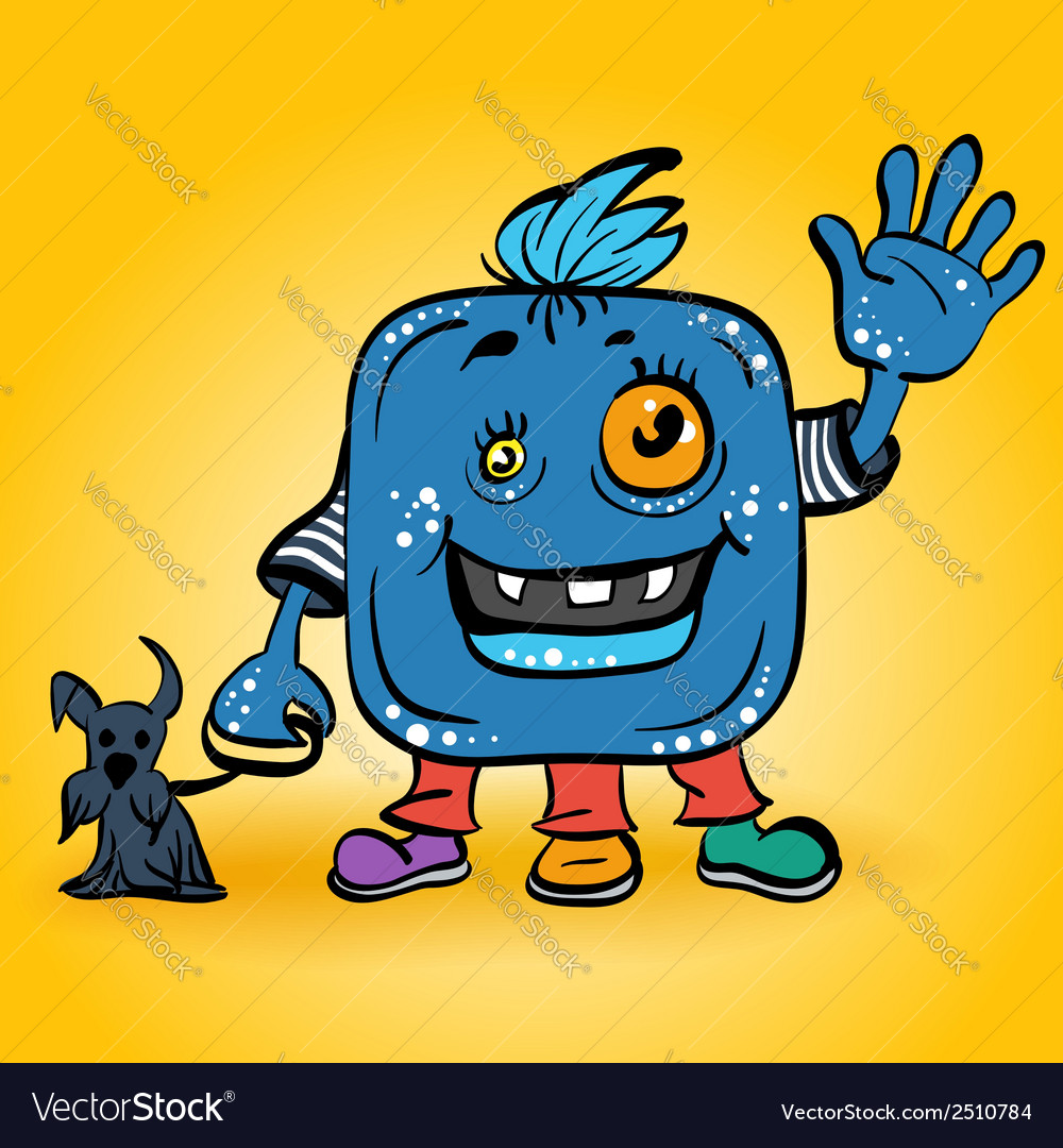 Blue monster with dog vector | Price: 1 Credit (USD $1)