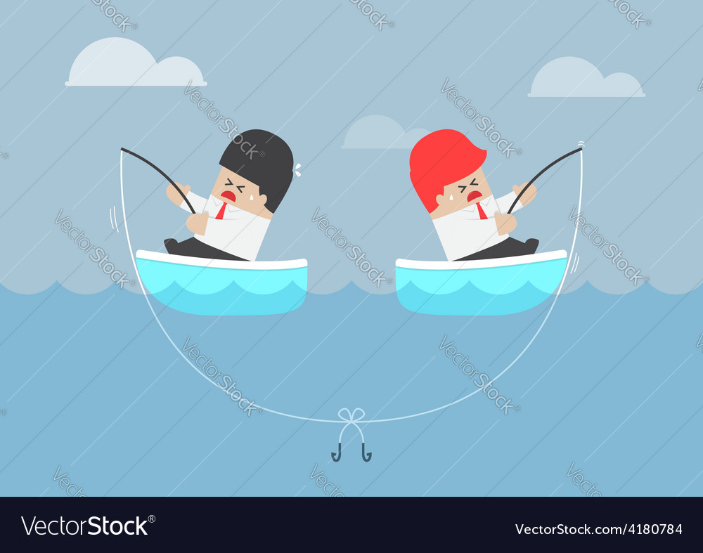 Businessman and his rival having trouble with fish vector