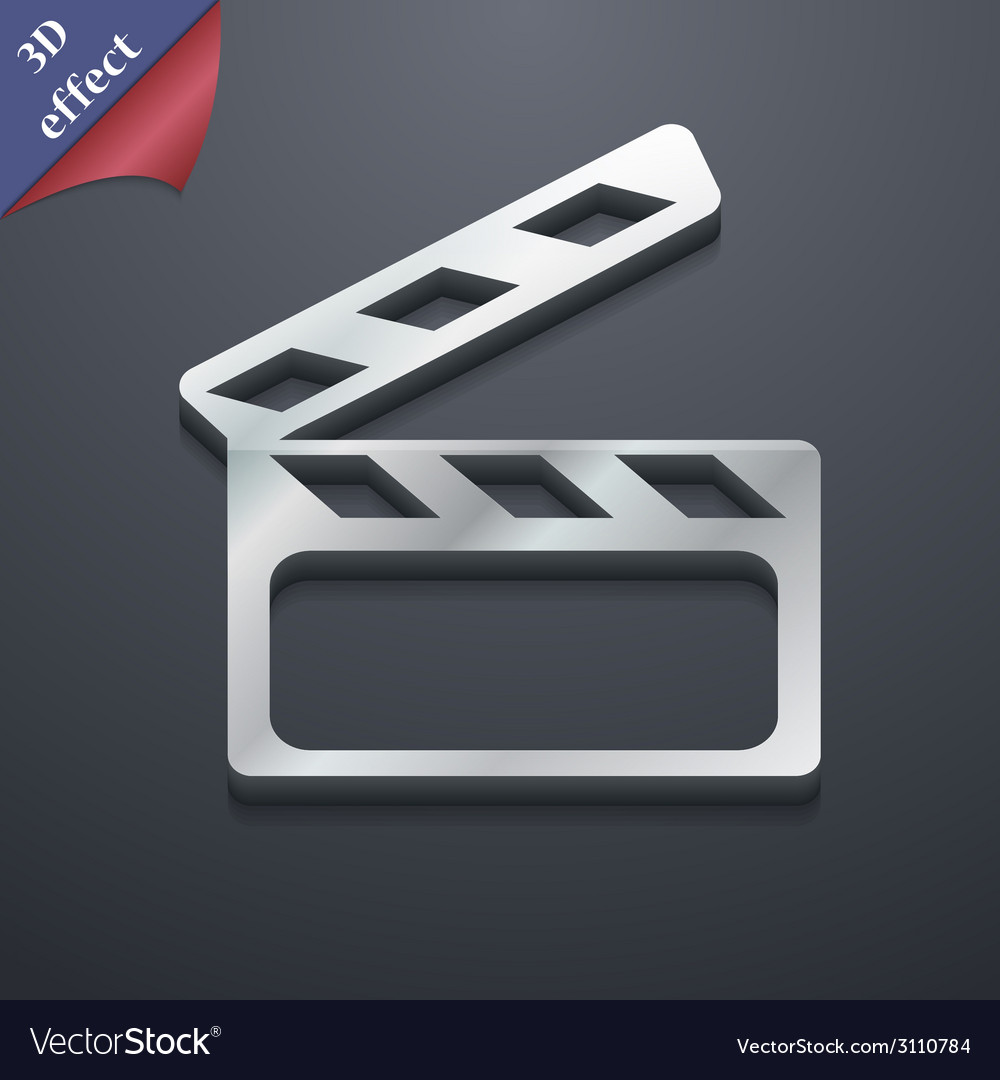 Cinema clapper icon symbol 3d style trendy modern vector | Price: 1 Credit (USD $1)