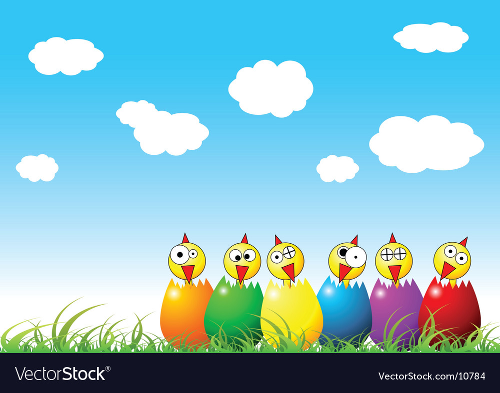 Easter chicks on grass vector | Price: 1 Credit (USD $1)