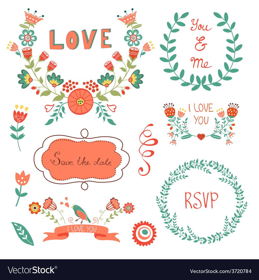 Elegant floral graphic elements vector